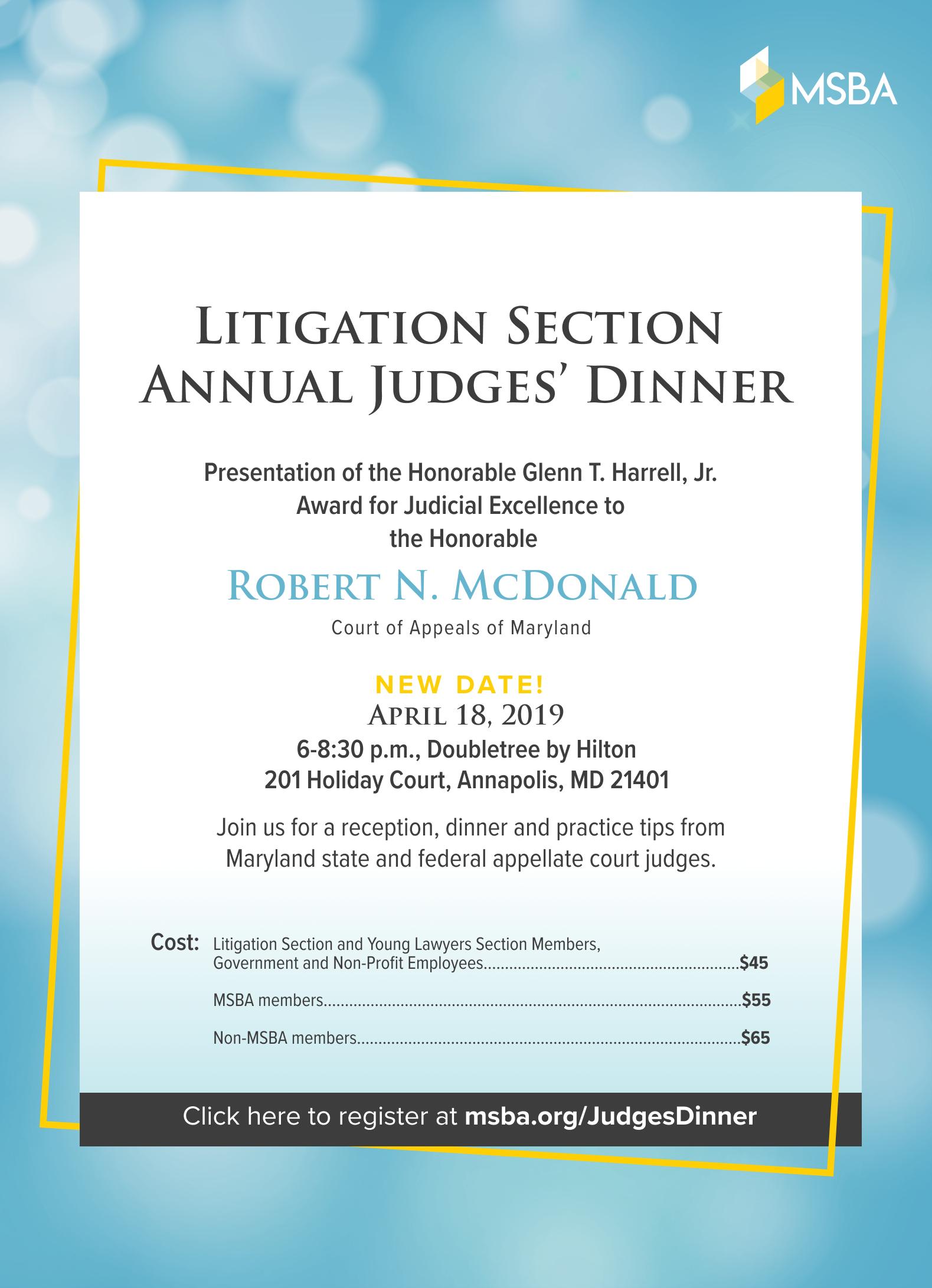Annual Judges Dinner 2019